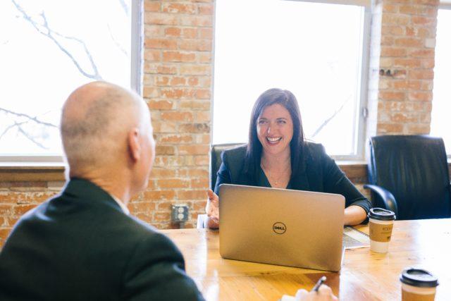Client access portal - happy lawyer client conversation